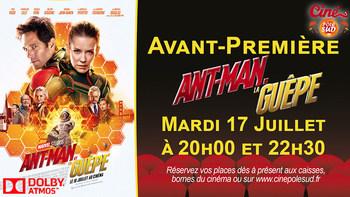 Ant-Man et la Guêpe Mardi 17 Juillet à 20h00 et 22h30