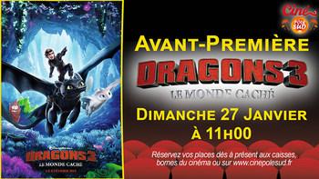 Dragons 3 : Le monde caché Dimanche 27 Janvier à 11h00