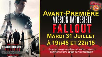 Mission: Impossible - Fallout Mardi 31 Juillet à 19h45 et 22h15