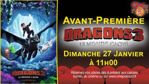 Avant-Première Dragons 3 : Le monde caché Dimanche 27 Janvier à 11h00