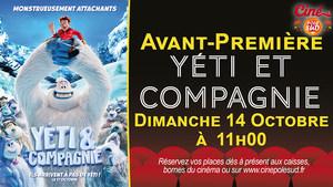 Avant-Première Yéti & Compagnie Dimanche 14 Octobre à 11h00