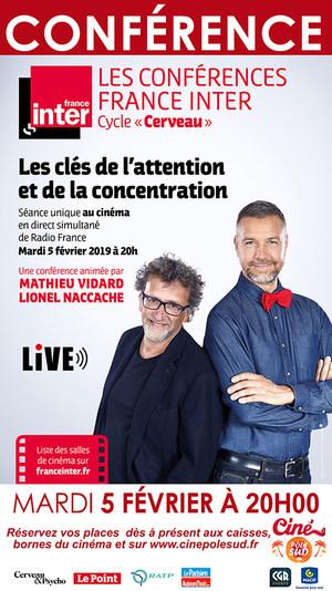 """Conférence France Inter """"Les clé de l'attention et de la concentration"""" en direct Mardi 5 février à 20h00"""
