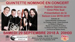 Le Quintette Nominoé en concert Samedi 29 Septembre 2018 à 20h00 au Ciné Pôle Sud