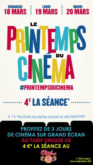 Le Printemps du Cinéma au Ciné Pôle Sud du Dimanche 18 au Mardi 20 Mars 2018
