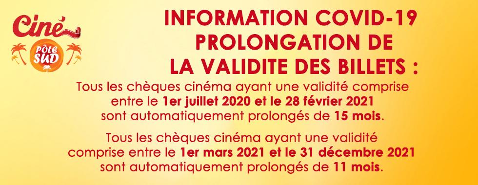 INFORMATION COVID-19  Prolongation de la VALIDITE DES BILLETS