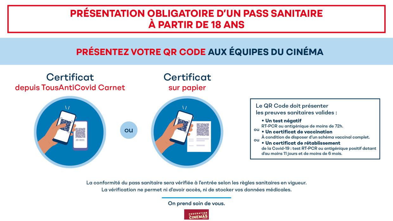 La présentation d'un Pass sanitaire valide est obligatoire à toutes les séances pour tous les spectateurs de 18 ans et plus.